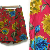 Vintage Floral Skort~Size Small/Waist 26~80s 90s High Waisted Pink Blue Yellow Green Skirt Shorts~By Sani-Sani Stone
