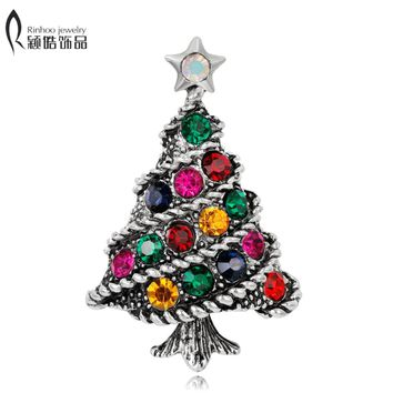 Crystal Christmas Tree Brooch pins Wedding Collar Clip Scarf Buckle Accessory Fashion Jewelry Brooches Best Gift For Women