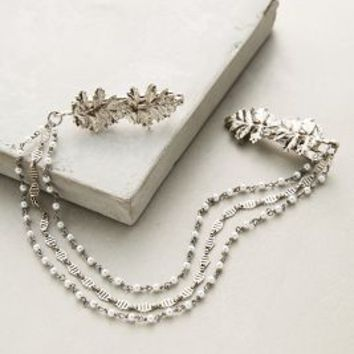 Aura Headpieces Pearled Foliage Clips in Silver Size: One Size Hair
