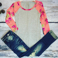 TROPICAL PARADISE BASEBALL TEE