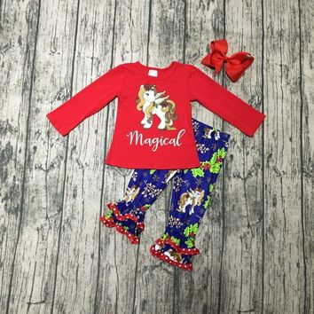 Christmas tree Fall/winter baby girls boutique magical unicorn floral ruffle children clothes cotton outfits match bow kids wear