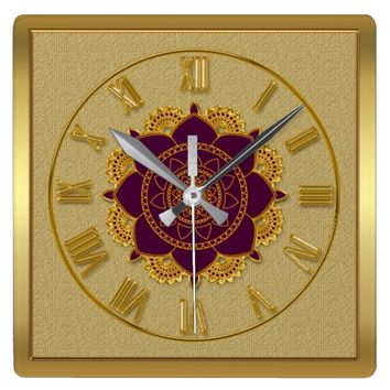 Golden Roman Numerals Ornamental Wall Clock