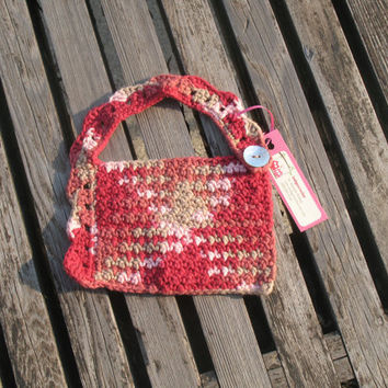 Red Pink and Tan Cotton Crocheted Baby Bib