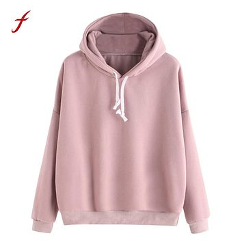 winter sweatshirts for women 2017 Pink women's gown with a hood hoodies Ladies Solid Long Sleeve Casual Hooded harajuku clothes