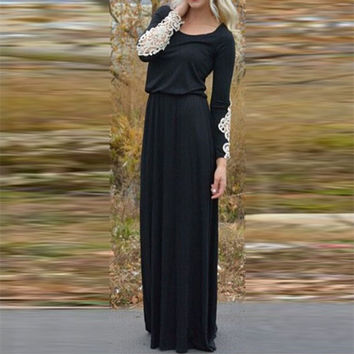 Long Sleeve Embroidery Blouson Maxi Dress