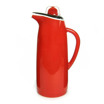 Vintage Corning Designs Themal Coffee Carafe Pot in Red / Made in Japan / Large Thermos / Mid Century Modern Design Mod / Servingware