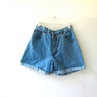 vintage denim shorts / jean shorts / high waist denim shorts / cuffed shorts