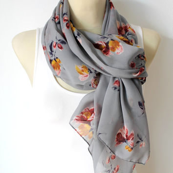 Gray Floral Silk Scarf - Unique Fabric Scarf - Women Fashion Shawl - Original Boho Scarf - Printed Silk Scarf - Fashion Accessories -For her