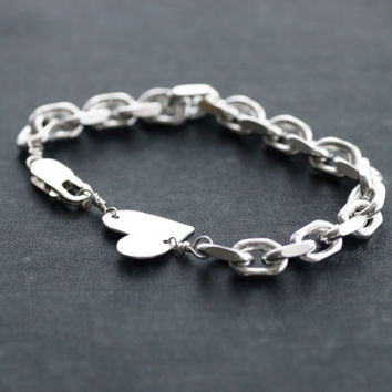 Chunky Sterling Chain Bracelet with Heart Charm - Dark Oxidized Antique or Shiny