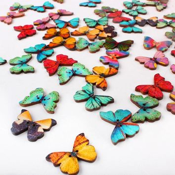50pcs Lot Colorful 2 Holes Mixed Butterfly Wooden Buttons Sewing Scrapbooking DIY