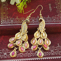 antique charming peacock earrings jewelry