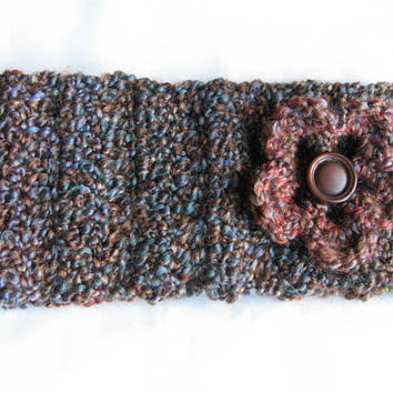 Crochet headband women multi colored with flower ready to ship colorful