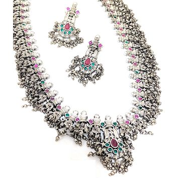 Antique silver matte finish guttapusalu long haram Necklace and Earring set