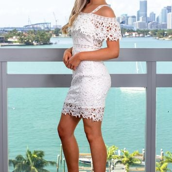 Off White Off Shoulder Crochet Short Dress