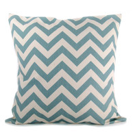 Gray Blue Pillow Blue and Cream Chevron Pillow Cover ONE 18x18 ZigZag Missoni Light Blue Pillow Printed Fabric on both sides