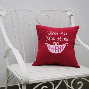 Alice in Wonderland Pillow Covers We're All Mad Here Quote Cheshire Cat Pillowcase Decorative Pillow Cover Home Decor Throw Pillows V26