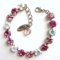 Swarovski crystal tennis bracelet, pink and crystal AB, not sabika, it's a siggy, GREAT PRICE