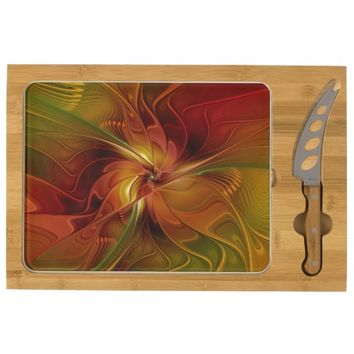 Warmth, Abstract Fractal Art Cheese Board