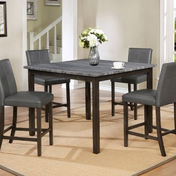5 pc Pompei collection brown faux marble top wood counter height dining table set with grey chairs