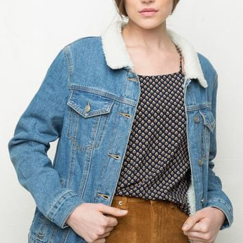 CORIANNE FUR DENIM JACKET