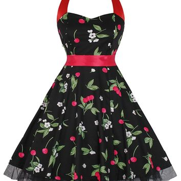 Atomic Black Cherry Halter Swing Dress