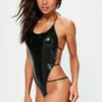 Missguided - Black Wet Look Super Strappy Thong Swimsuit