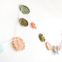 Crochet flower garland bunting home wall wedding decor baby nursery banner hanging doily granny chic green olive melon sage orange khaki
