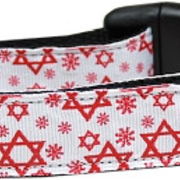 Red Star of David Nylon Dog Collar Medium