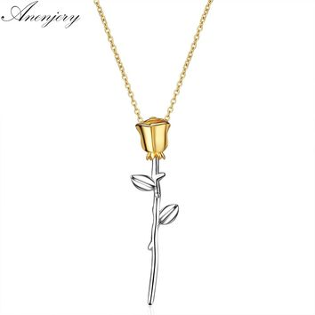 Anenjery Eternal Love  Rose Flower Necklace Clavicle Chain 925 Sterling Silver Necklace For Women Lover Gift collares S-N294