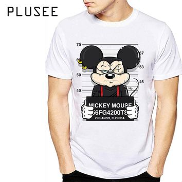 Plusee Men T-shirt White Plus Size Tee Shirt Summer Print Cartoon Mickey Mouse Anime Cute Funny Oversize T-shirt Men T-shirt