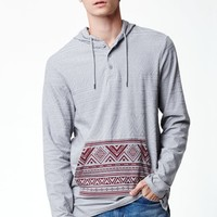 On The Byas Lucius Pullover Hooded Henley Shirt - Mens Shirt - Gray