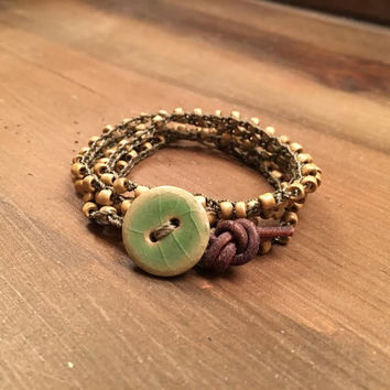 Country Crochet Wrap Bracelet, Green and Brown, Ceramic Button Closure, Country Girl, Country Jewelry