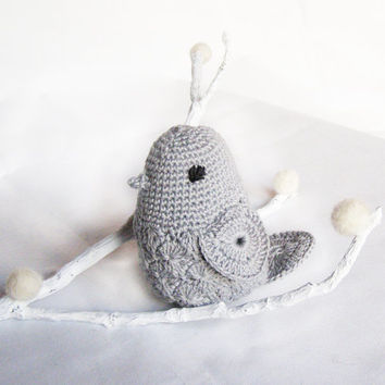 Crocheted Bird on branch - Baby Toy - Gray - Nursery Home Decor