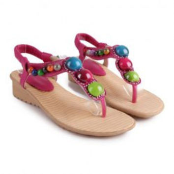 Bohemia Women's Sandals With Artificial Jewel and Flip-Flop Design