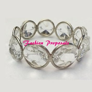 50 Crystal gem silver napkin ring, bling crystal napkin ring, holder, Wedding Crystal Gem napkin ring  50 pcs  95.00