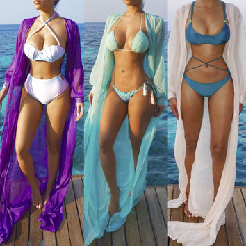 BAICLOTHING 2017 Summer Women Beach Cover Up Ladies sexy long sleeve Swimsuit Bathing Suit Cover Ups Kaftan Beach Wear