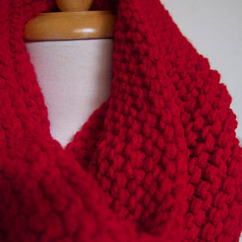 one of a kind hand knit soft wool free cowl -- scarlet red