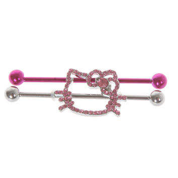 Hello Kitty 14G Industrial Barbell 2 Pack | Hot Topic