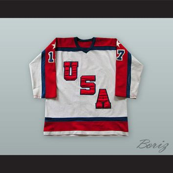 1983-84 Scott Bjugstad 17 USA White Hockey Jersey