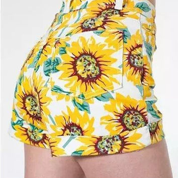 Sunflower Print High Waisted Zippered Shorts