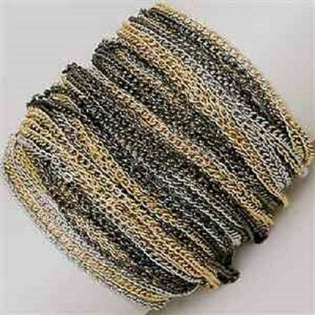 """8"""" silver layered chain arm candy stack bracelet bangle cuff toggle"""