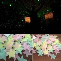 Hot New 100 pcs pack DIY wall sticker Glow In The Dark Plastic Star Stickers Baby Kids Ceiling poster Wall Nursery Room Decal Y1