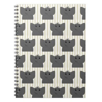 Cute Little Elephant Drawing with Stripes Notebook