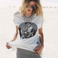 CMRTYZ Destroyed High/Low Tee- White