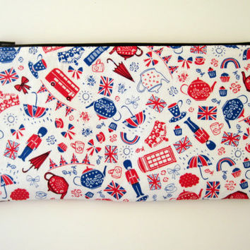 London Motif Zipper Pouch, Pencil Pouch, Make Up Bag, Gadget Bag, Red, White and Blue