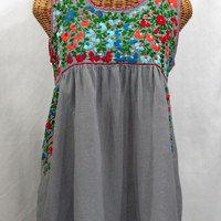 """La Sirena"" Sleeveless Mexican Peasant Blouse -Grey + Fiesta Embroidery"
