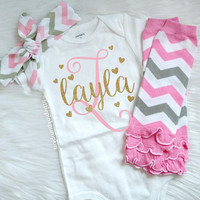 Baby Girl Clothes, Monogram Name Bodysuit, Personalized Baby Bodysuit, Pink and Gold Outfit, Newborn Coming Home Outfit, Leg Warmer Bow Set