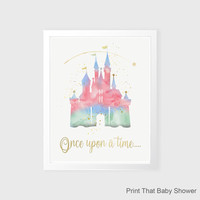 Disney Castle Wall Art - Disney Nursery Decor - Nursery Art - Disney Kids Wall Art - Cinderella Wall Decor - Disney Watercolor Wall Art