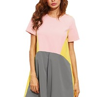 Women's Cute Short Sleeve Pockets Color Block Casual Swing Tunic Dress
