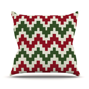 "KESS Original ""Christmas Gram"" Chevron Outdoor Throw Pillow"